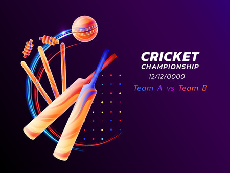 Vector abstract illustration of cricket sport from colored liquid splashes and brush strokes with neon lines and colored dots. Championship and competition concept. Sport equipment.
