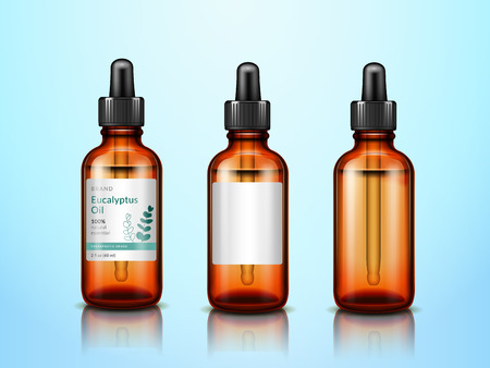 Botellas de aceite esencial de eucalipto 3d con pipeta. Conjunto de recipientes de cristalería de extracto de eucalipto realistas con gotero médico o pipeta para publicidad en farmacias. Tema de boticario y hierbas