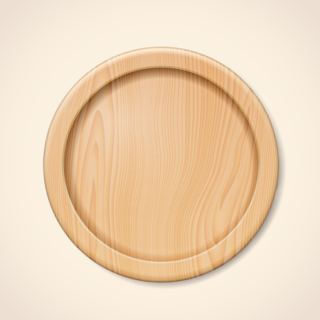 Isolated wooden plate. Beige or brown tray for kitchen or timber kitchenware for pizza or meat, meal. Domestic server for cutting or circle accessory for eating. Food and tableware, restaurant theme Vectores