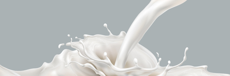 Milk splashing effect. Liquid beverage pouring down. Design element for advertising. Vector 3d realistic illustration. 矢量图像