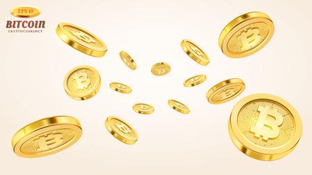 Koncepcja kryptowaluty lub płatności elektroniczne. Technologia wektor ilustracja 3d. Realistyczna eksplozja złotych monet lub plusk na białym tle. Deszcz złotych bitcoinów. Spadające lub latające pieniądze.