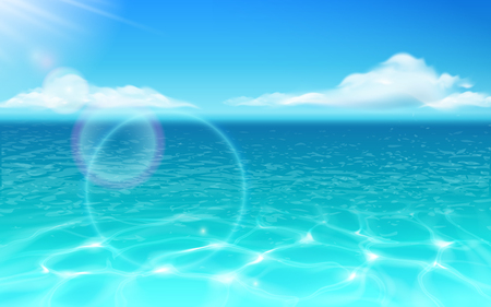 Sea water surface and glowing sun with clouds. Ocean with rippled water and sunbeams reflection. Holiday and vacation, summer wallpapers, aquatic and marine theme