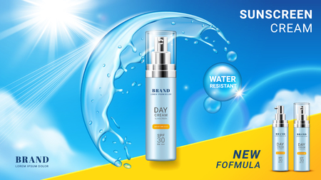 Branding of sunscreen cream or package side for skin spray product. Aerosol for sun protection at sky with water bubble splash reflecting sun rays. Advertising and skincare, packaging theme