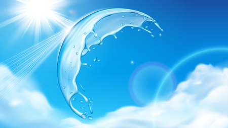 Summer sky with sun behind splashing water bubble. Sprinkle of liquid on top of atmosphere with cumulus clouds and repeling glowing sunshine. Freshwater and aqua, cloudscape theme