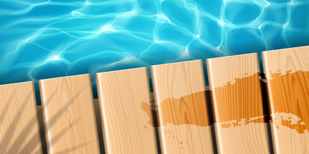 Pier with wooden boards at ocean. Sea wood dock with palm shadow and fluid stain, water rippled surface with sun reflection, clean and bright aqua. Marine and beach, aquatic and tropical theme Ilustración de vector