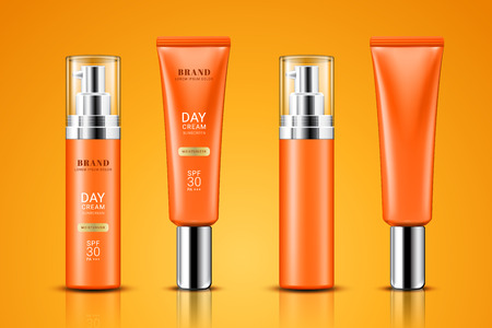 Realistic tube with sunscreen cream. Set of isolated 3d containers with lotion for skin care or treatment. Branding and packaging, advertising of gel for suntan and sun protection.