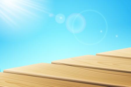Rayos de luz solar cerca del muelle de madera. Tablas de madera y sol en el cielo. Muelles con resplandor de rayos o reflejo de luz, embarcadero con sol brillante. Resort tropical y verano, océano y mar, tema de siwmming