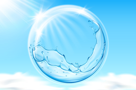 Water bubble in sky reflecting sun beams. Heaven with clouds and splashing liquid repelling sunshine or glowing rays. Sunburn protection and skincare theme