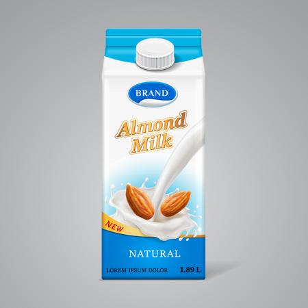 Boîte en papier pour lait d'amande avec éclaboussures de liquide et noix. Marque de boisson laitière dans un contenant en carton avec couvercle, modèle d'emballage réaliste pour un repas végétalien naturel. Thème de la vente au détail et de la nutrition saine Vecteurs