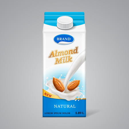 Paper box for almond milk with liquid splash and nuts. Dairy beverage branding at carton container with lid, realistic package template for vegan natural meal. Retail and healthy nutrition theme Vector Illustratie
