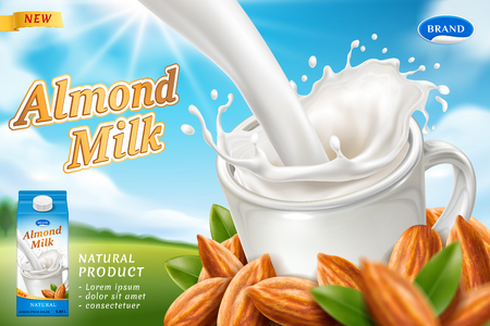 Package design for almond milk or vegan drink with milky splash at cup, carton pack and heap of nuts for packaging template. Beverage branding and dairy breakfast, meal advertising theme