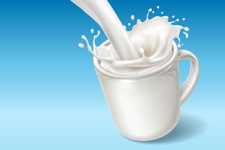 Verse melk vallen in keramische beker met spatten. Milkshake gieten in schotel met splash of dash. Realistische yoghurtstroom. Natuurlijke drank en gezond veganistisch dessert, voedzame drank en melkachtig thema
