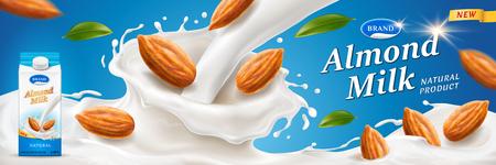 Éclaboussures de lait d'amande avec des noix pour la publicité ou la marque de l'emballage sur l'emballage. Récipient en papier pour produits laitiers près des éclaboussures de milkshake pour la conception de l'emballage. Repas et boisson végétalienne, thème de la nutrition et de la vente au détail Vecteurs