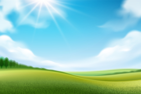 Nature landscape for wallpapers or panorama view on meadow, grassland or glade horizon scene with sky and sun, grass and trees, clouds. Spring and summer farmland view, countryside theme