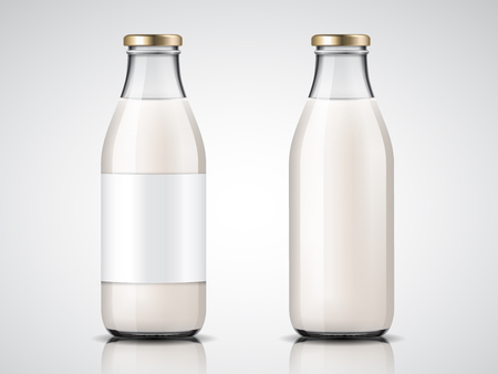 Glassware milk bottles with blank labels and lid or empty yogurt glass containers. Vegan drink and healthy farm non alcoholic beverage. Dairy and nutrition, drink and grocery theme