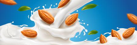 Éclaboussure réaliste de lait d'amande avec des noix pour la publicité sur les boissons naturelles, boisson végétalienne biologique avec éclaboussures 3d pour l'emballage, publicité pour le milkshake. Dessert et repas, thème de la marque laitière