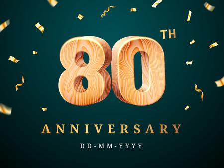 Cartel del 80 aniversario con confeti cayendo. Octogésimo año para celebración empresarial o letrero de calidad de empresa centesimal de madera. Publicidad y felicitación, tema de fiesta corporativa.