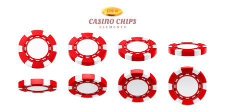 Animation tokens for realistic casino chips or frames for gambling empty tokens flip, cycles of movement for plastic blank chips. Can be used for gif animation at online casino. Gamble theme