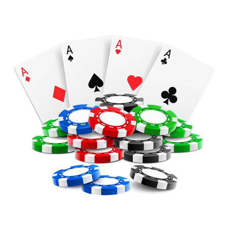 Playing cards near stack of casino 3d chips or aces of spades, diamond, hearts and clubs near realistic gambling tokens for sport poker, blackjack. Gamble and game, online casino theme Illustration