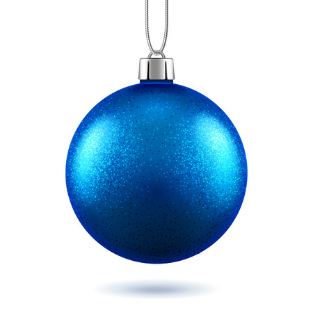 3d blue ball for 2019 new year or glittering christmas realistic toy, scintillation bauble with shadow or shiny sphere for winter holidays. Xmas tree decoration. Festive and celebration, greeting card