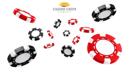 Jetons de casino 3D ou jetons réalistes volants pour le jeu, le vide volumétrique de la maison de divertissement ou l'argent vide pour la roulette ou le poker, le blackjack. Pari et gagnant, risque et chance, pari et fortune Vecteurs