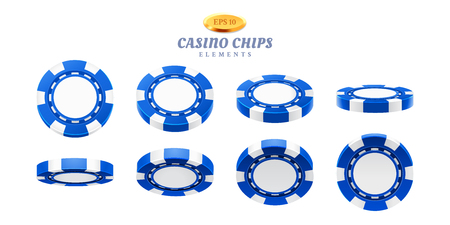Animation sprites for realistic casino chips or frames for gambling empty tokens flip, cycles of movement for plastic blank chips. Can be used for gif animation at online casino. Gamble theme Illustration