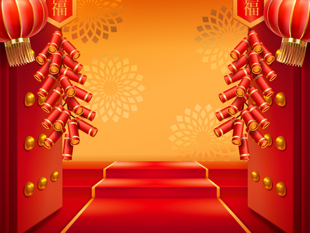 Doors with fireworks or entrance with lanterns, red carpet on stairs, ladder and flowers at wall. Chinese or korean, japanese entry with firecrackers and light. Buddhist pavilion decorated for holiday 矢量图像