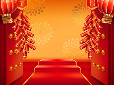 Türen mit Feuerwerk oder Eingang mit Laternen, roter Teppich auf Treppen, Leiter und Blumen an der Wand. Chinesischer oder koreanischer, japanischer Eintrag mit Feuerwerkskörpern und Licht. Buddhistischer Pavillon für den Urlaub dekoriert