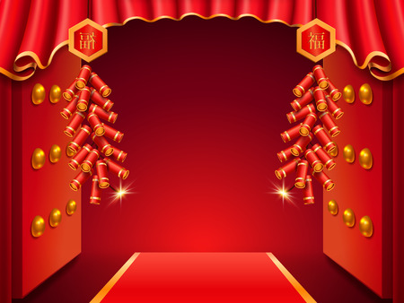 Asian temple door decorated with curtains and burning fireworks or ablaze firecrackers, salute. Red carpet or tapis and chinese characters near gate for buddhist holiday celebration. Asian festive