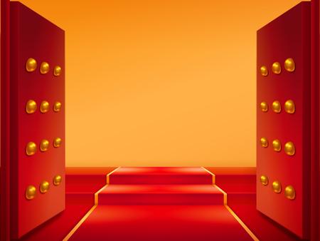Puertas abiertas con alfombra roja y dorada en las escaleras. Puertas y tapis en la entrada del castillo oriental o templo chino, edificio medieval de Japón. Entrada al pabellón de budismo. Símbolo de salida y bienvenida, elemento asiático