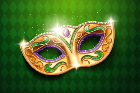 Shining diamonds on carnival mask. Colombina face cover for masquerade or costume party. Man and woman ball masque for theater or opera, mardi gras festival or brazil parade. Fashion and holiday theme Stock Illustratie