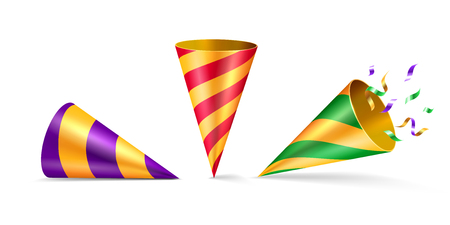 Set of isolated party hat or cone hat with confetti. 3d or realistic conical costume accessory with ribbon for happy birthday or anniversary celebration. Clown headdress at kid or children event. Иллюстрация