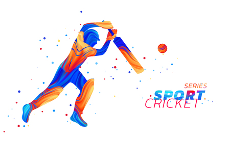 Vector abstract illustration of batsman playing cricket from colored liquid splashes and brush strokes with colored dots. Championship and competition sports. 3d player silhouette.