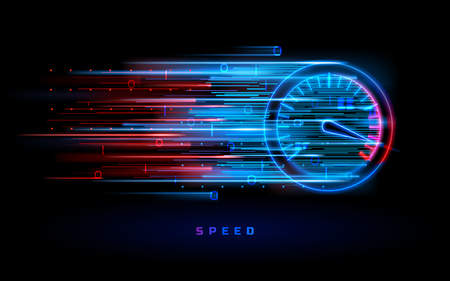 Download progress bar or round indicator of web speed. Sport car speedometer for hud background. Gauge control with numbers for speed measurement. Analog tachometer, high performance theme 免版税图像 - 124639852