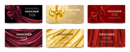 Golden voucher or red gift card, gold certificate for discount. Set of isolated template for present coupon with ribbon and bow. Shop invitation promo or flyer offer, birthday gift. Premium label