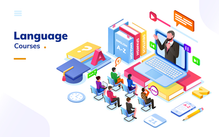 People at foreign language courses. English or french, german or spanish online class with teacher and notebook. E-learning or electronic learning international school with students. Tutorial or exam