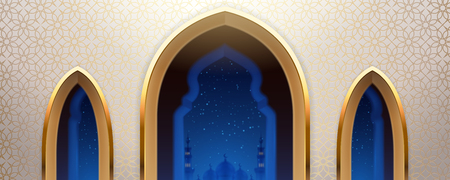 Arab mosque with windows or arabic church wall with view on islam city at night. Eastern or turkish, morocco religious place with islamic decoration. Background for ramadan holiday, eid mubarak. Illustration