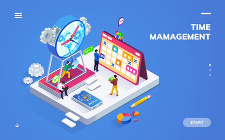 Isometric banner for time management or schedule with people near clock and calendar. Sign or banner for office planner or smartphone application, GTD method. Business planning. Scheduler theme