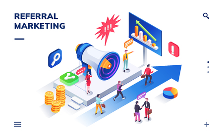 Refer a friend program isometric sign. Referral marketing advertising banner or advertisement flyer. Business network and affiliate. People near megaphone and at arrows. Invitation, recommend network