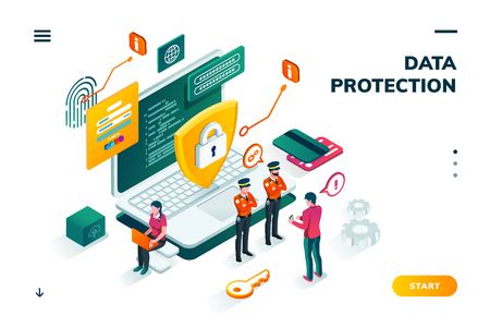Isometric banner with notebook and policeman, shield in front of man entering password on smartphone. Cyber security, protection and privacy, internet safety and credit card steal, carder theme Çizim
