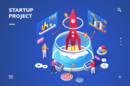 Isometric landing page for startup project. Banner for new product concept. Isometry view on 3d sign for start up. Rocket as symbol for business or idea launch. Spaceship for innovation company Çizim