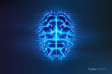 Robot or cyber brain with geometry lines and dots. Circuit board on human or artificial intelligence digital mind, polygonal neural network on glowing cyberbrain. Future technology concept