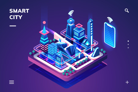 Smart city or isometric town. 3d skyscrapers and smartphone with wifi or internet of things, iot or gps, tracking technology. Cityscape illustration connected with phone or tablet controller. Future