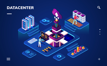 Data center or centre with hardware or software engineers. Isometric room with people working with big data server or datacenter, cloud technology or database backup, internet information security