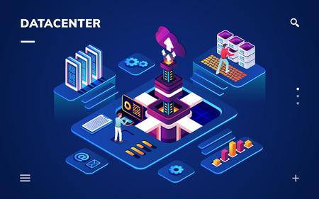 Rechenzentrum oder Zentrum mit Hardware- oder Softwareingenieuren. Isometrischer Raum mit Personen, die mit Big-Data-Servern oder -Rechenzentren, Cloud-Technologie oder Datenbank-Backup, Internet-Informationssicherheit arbeiten