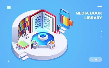Isometric view on digital school or university library. Computer and smartphone, electronic book or ebook. Student in e-library or e-reader at bookstore. Online study and e-book reading. E-learning