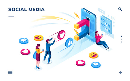 Isometric view on smartphone with magnet attracting social media followers or users. People commenting online, sharing and liking posts. Digital marketing and online influence. Smartphone screen, page