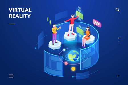 Isometrischer 3D-Raum mit Menschen, die virtuelle Realität oder immersives Technologie-Gadget verwenden. Mann und Frau mit kopfmontiertem VR mit Hologramm. Cyber-Training und Innovation. Smartphone-Bildschirm, Landingpage