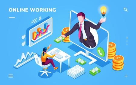 Isometrisches Büro mit Freiberufler, der Geld oder Bargeld vom Geschäftsmann nimmt. Online-Arbeitshintergrund für Smartphone-Anwendung mit Monitor und Schreibtisch, Grafik. Outsourcing-Internet-Arbeiter, Programmierer. Arbeitsplatz