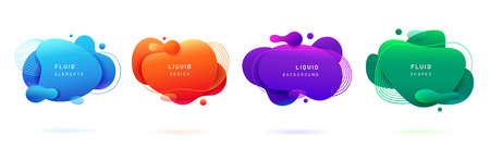 Set of isolated blue and red fluid blobs, gradient green and violet liquid spots. Abstract 3d brush spats for poster design or flyer background, banner template. Geometric shapes with dynamic colors